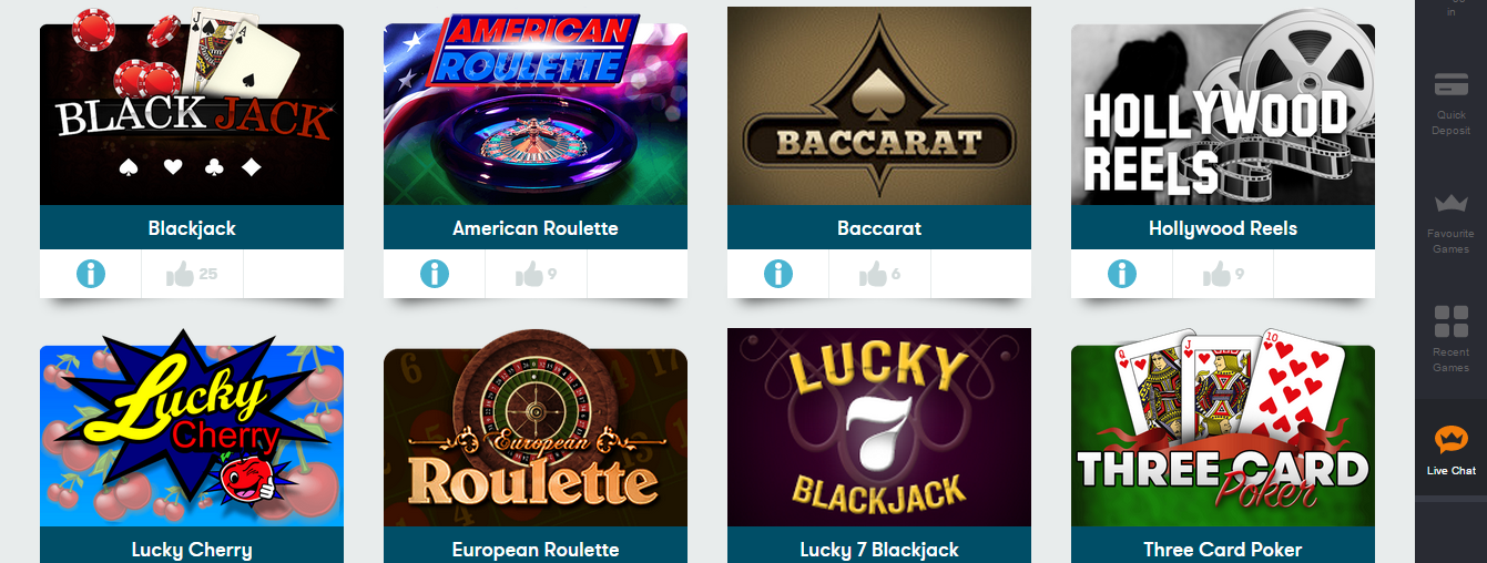 intercasino game selection